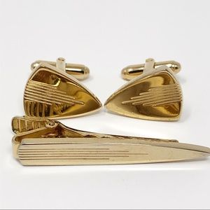Mid Century Cufflinks & Tie Bar Set Gold Plated